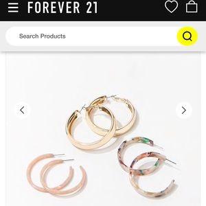 Forever 21 NWT Marble and Metal Hoop Earring Set